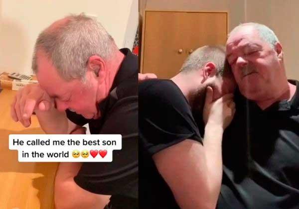 Jamie e pai choram com a surpresa