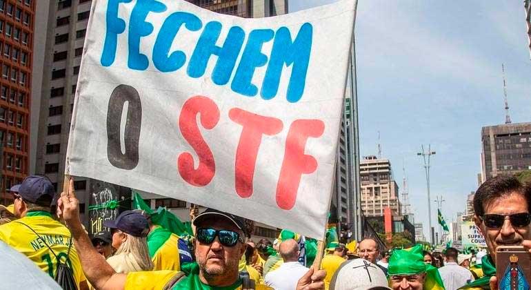 Apoiadores de Bolsonaro (sem partido) na avenida Paulista pedem fechamento do STF ADRIANA SPACA/ESTADÃO CONTEÚDO - 07.09.21