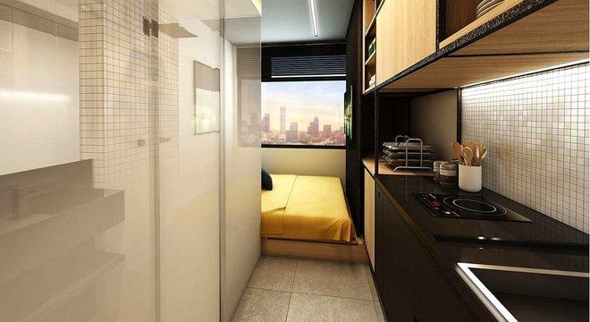 Empresa afirma que seus apartamentos de 10 m² são os menores da América Latina Divulgação/Vitacon