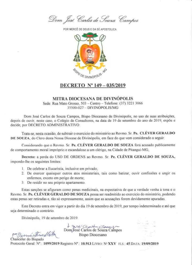 No decreto, o bispo classifica as sanções como 'penas medicinais' e afirma que o caso está sendo apurado (foto: Reprodução)