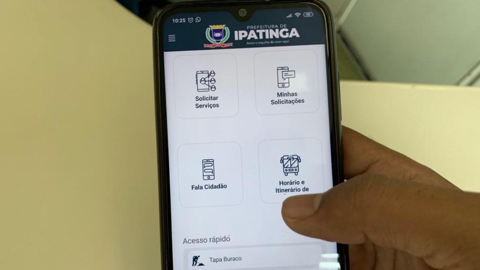 Aplicativo da Prefeitura de Ipatinga no celular