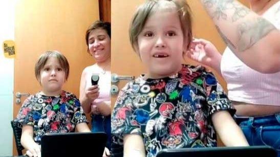 Camila raspando os cabelos do Chico após quimioterapia - Fotos: reprodução / Instagram